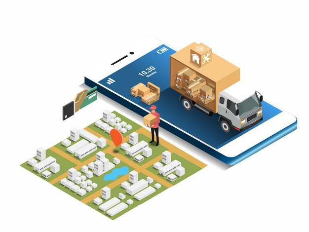 手机上的小货车和城市模型快递388842png图片素材