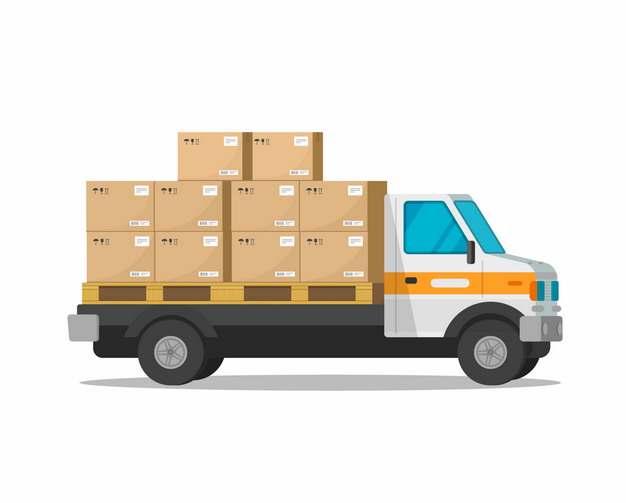 装满纸箱子货物的小型卡车723506png图片素材