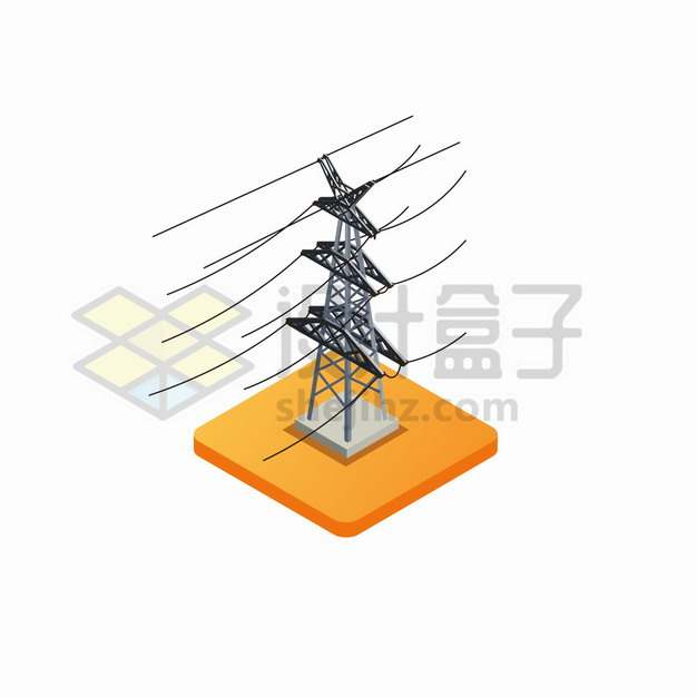 2.5D风格输电塔特高压电线png图片素材