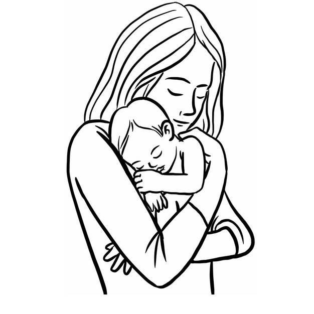 妈妈抱着宝宝母亲节线条插画734703png图片素材