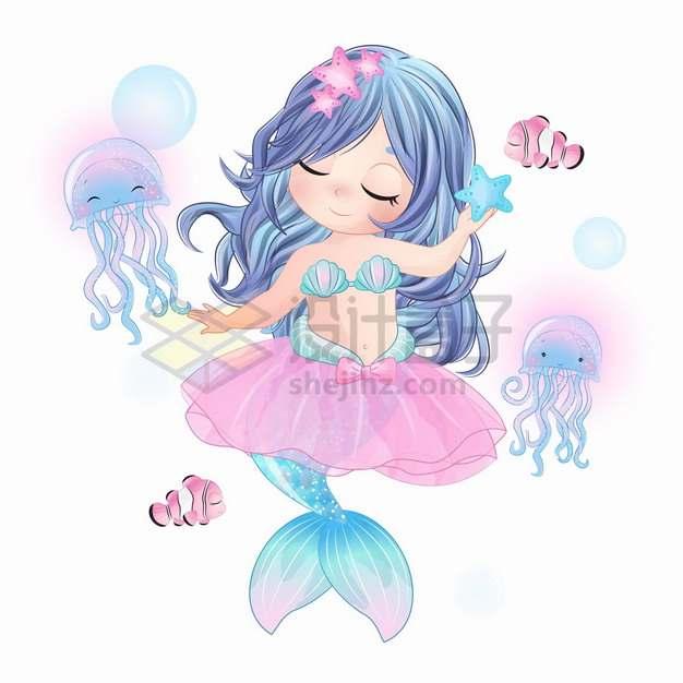 可爱卡通美人鱼和海星跳舞手绘插画png图片素材