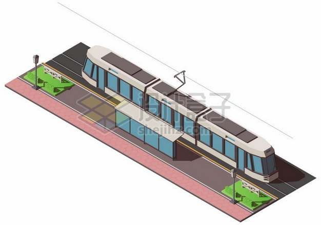 2.5D风格有轨电车和公交站台945364png矢量图片素材