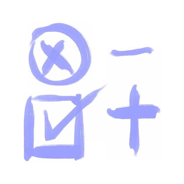 对号错号加号减号紫色涂鸦水彩画png图片素材