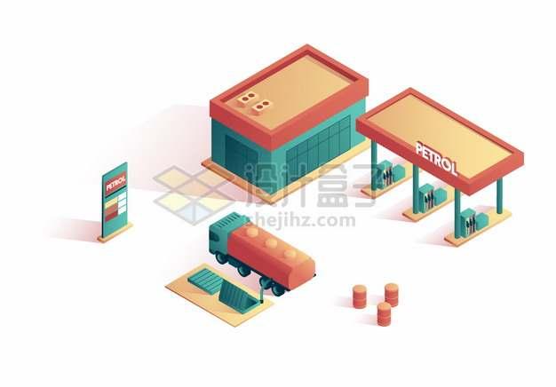 2.5D风格加油站和油罐车插画png图片素材