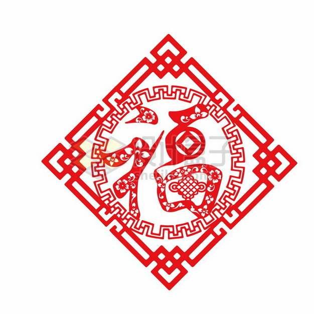 新年春节福字红色剪纸贴纸装饰819686png图片素材