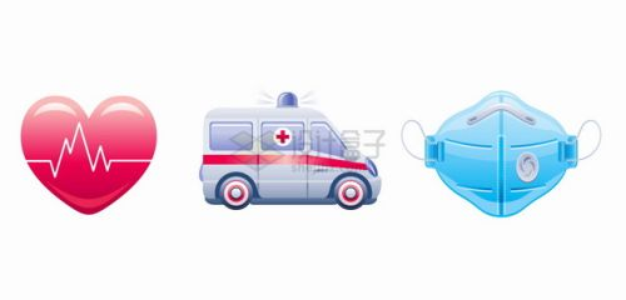 红色爱心救护车蓝色N95口罩新冠病毒疫情png图片素材