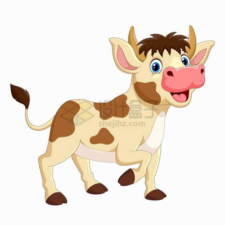开心的奶牛可爱卡通动物png图片免抠矢量素材