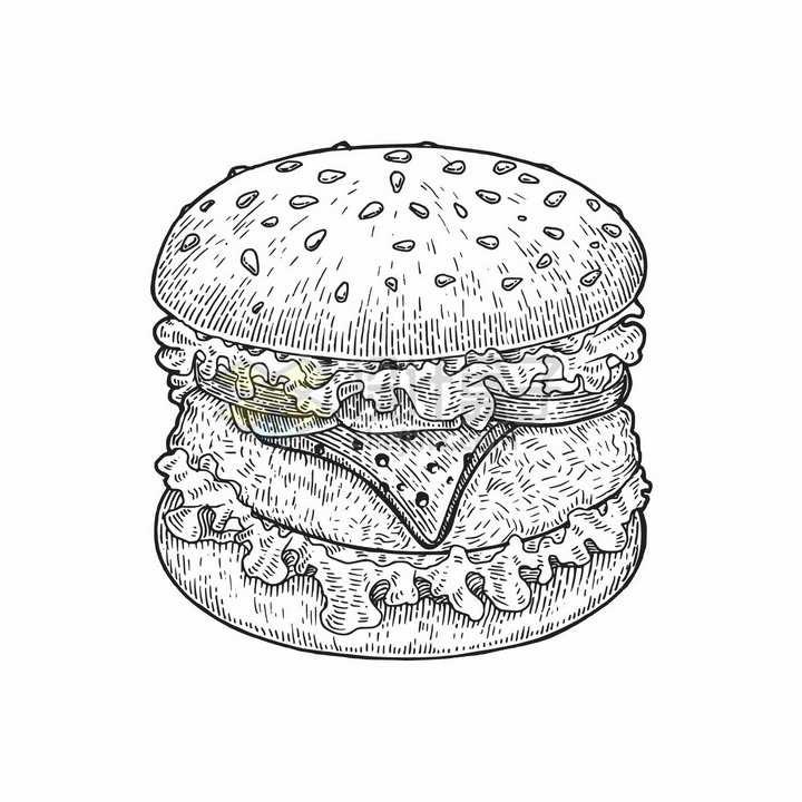 汉堡包美味西餐美食黑白手绘素描插画png图片免抠矢量素材