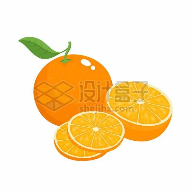 切片的橙子美味水果扁平插画png图片素材