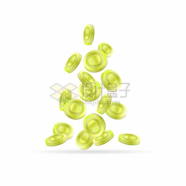 一堆绿色硬币金币雨png图片素材