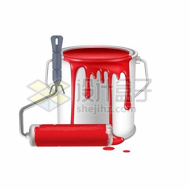 油漆桶和滚筒刷474010png图片素材