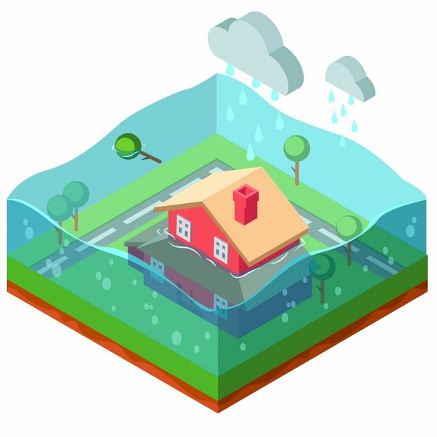 2.5D风格卡通洪水自然灾害泡在水里的房子png图片素材664075