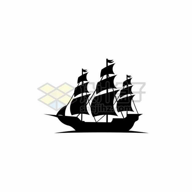 复古帆船剪影179352png图片素材