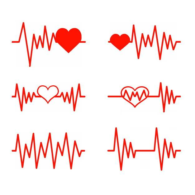6款红色线条心电图和红心装饰161793png图片素材