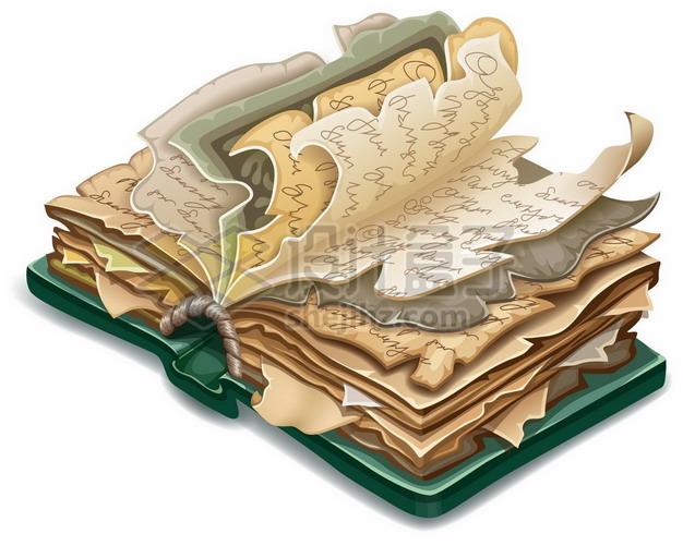 翻开的卡通复古老旧书籍游戏魔法书771647png矢量图片素材 教育文化-第1张