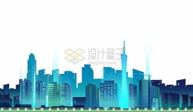 蓝色城市天际线夜景高楼大厦建筑678572png图片素材