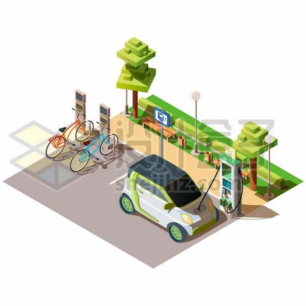 2.5D风格使用充电桩的电动汽车960564png图片素材