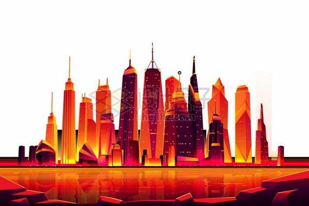 火红色的城市天际线高楼大厦建筑漫画插画692583png图片素材
