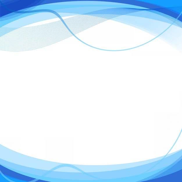 蓝色弧形波浪形装饰边框617151png图片素材
