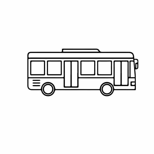 线条卡通公交车910109png图片素材