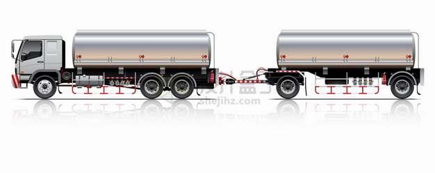 串联的两节银色油罐车食用油鲜奶运输车特种卡车png图片素材