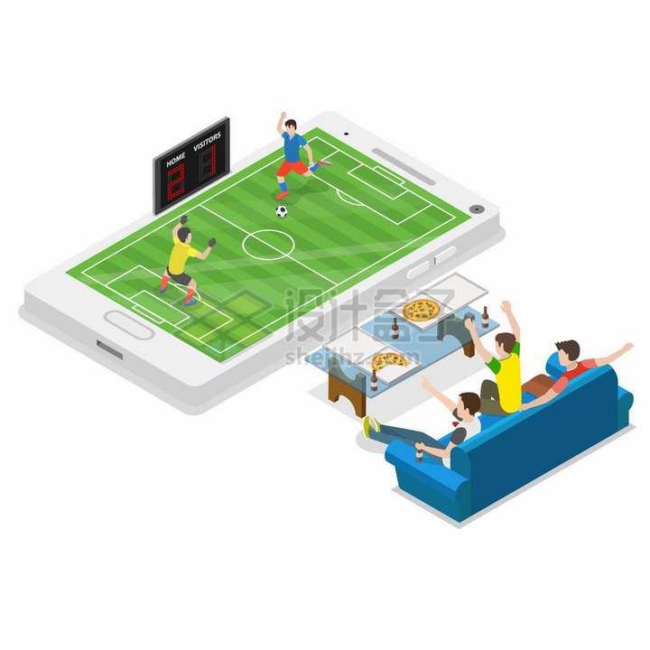 坐在沙发上通过手机看足球比赛现场直播的年轻人png图片免抠矢量素材