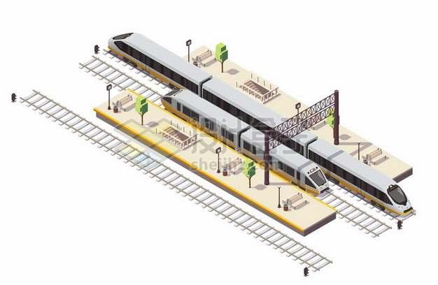 3D风格高铁和铁路车站设施655501png图片素材