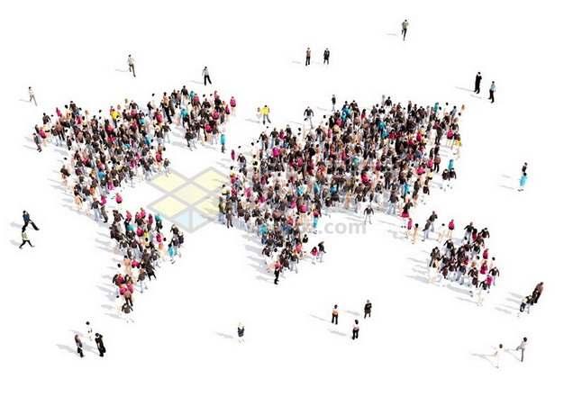 一群人组成的世界地图图案世界人口日333046png图片素材