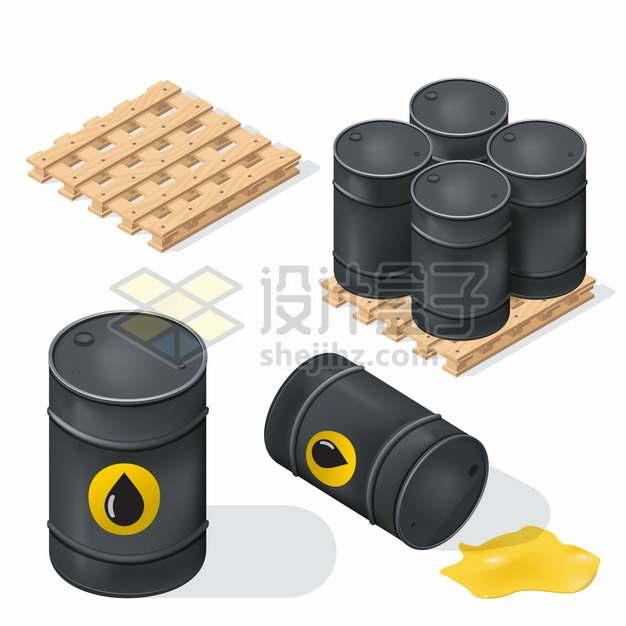 木制托盘上的黑色石油桶原油桶铁桶png图片素材