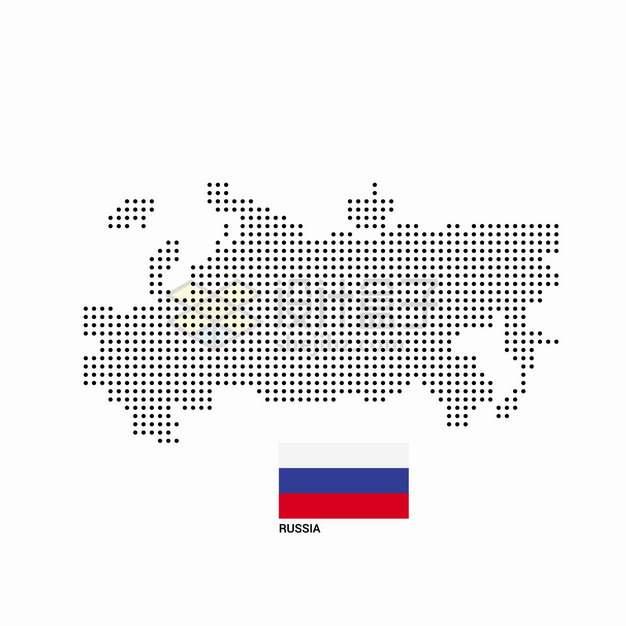 黑色圆点组成的俄罗斯地图和国旗图案png图片素材
