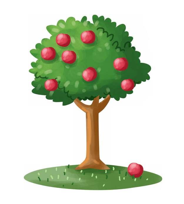 卡通苹果树上的红苹果彩绘插画png图片素材