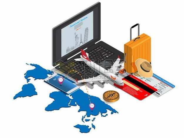 世界地图笔记本电脑客机旅行箱等全球旅行341801png图片素材