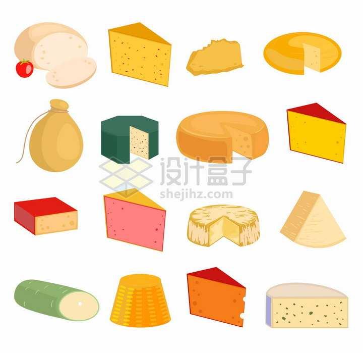 16款卡通奶酪切片美味美食png图片免抠矢量素材