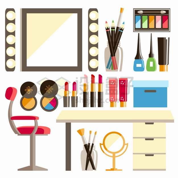 化妆镜眉笔眼影盘粉扑口红梳妆台等化妆工具png图片素材