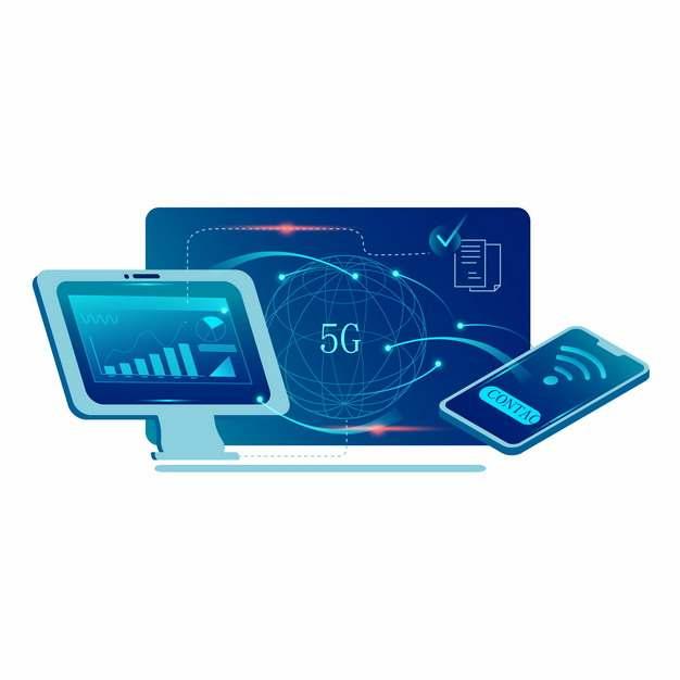 蓝色5G技术应用和手机平板818911png图片素材