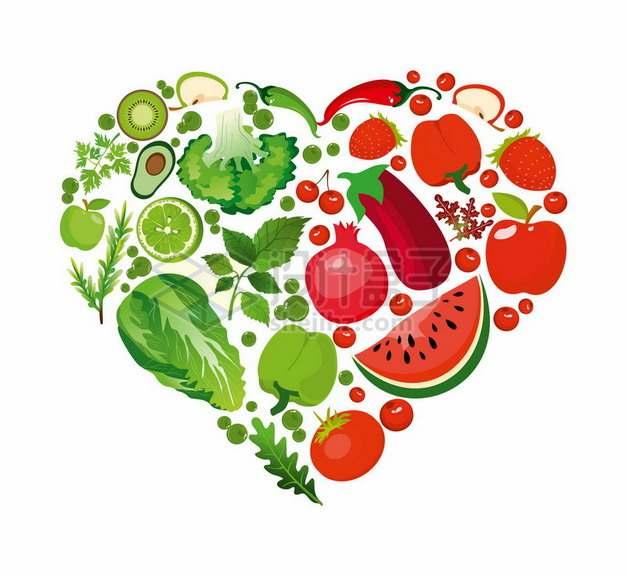 各种蔬菜水果组成的心形图案287962png图片素材