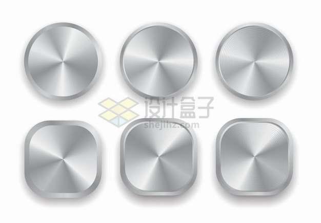银灰色金属拉丝光泽圆形和圆角方形按钮png图片素材