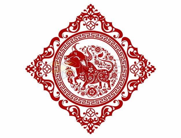 2021年牛年中国风红色剪纸贴花窗花407988png矢量图片素材