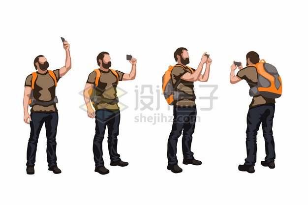 用手机拍照的背包客徒步旅行者113697png矢量图片素材