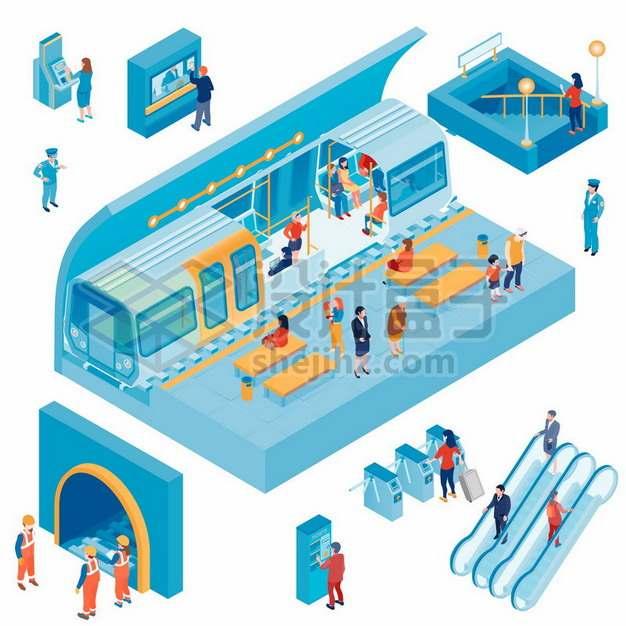 2.5D风格蓝色地铁和扶梯售票机等车站设施515094png图片素材