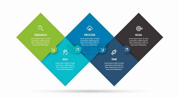 彩色磁贴风格顺序PPT信息图表png图片素材