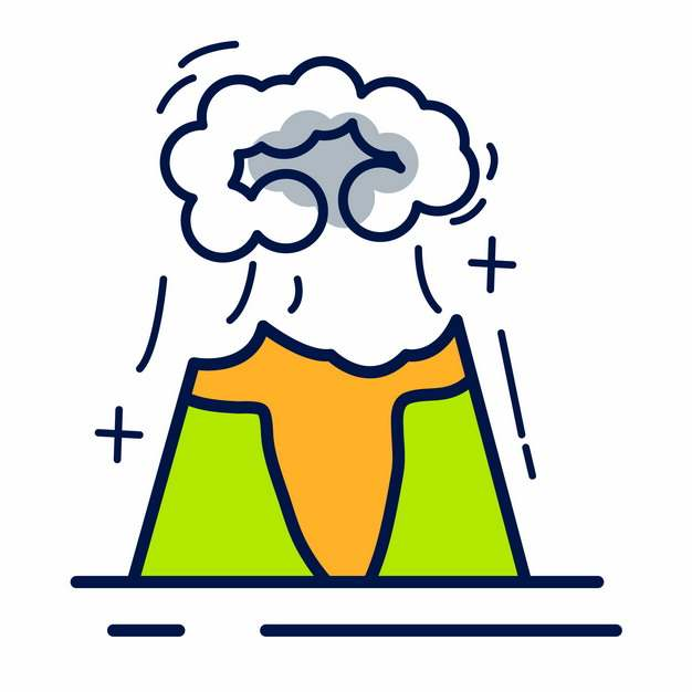 MBE风格火山爆发常见灾害插画png图片素材337166