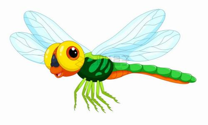 开心的蜻蜓可爱卡通动物png图片免抠矢量素材