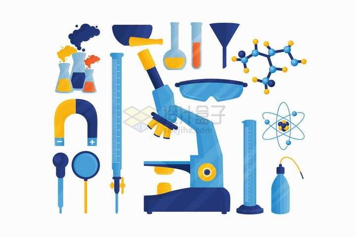 卡通锥形瓶磁铁显微镜量筒等化学实验仪器png图片免抠矢量素材