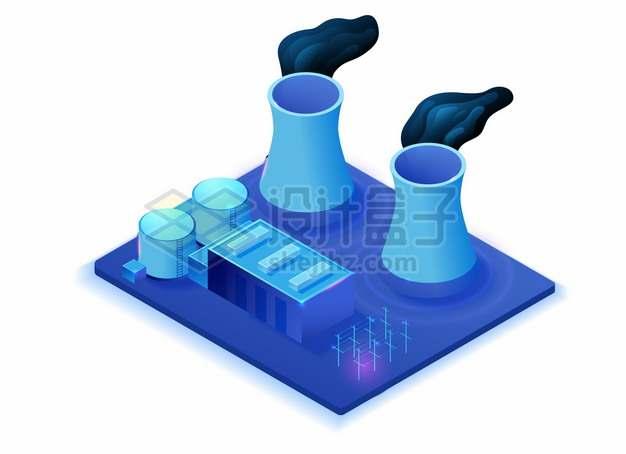 2.5D风格紫色工厂里的两个大烟囱冷却塔420865png图片素材