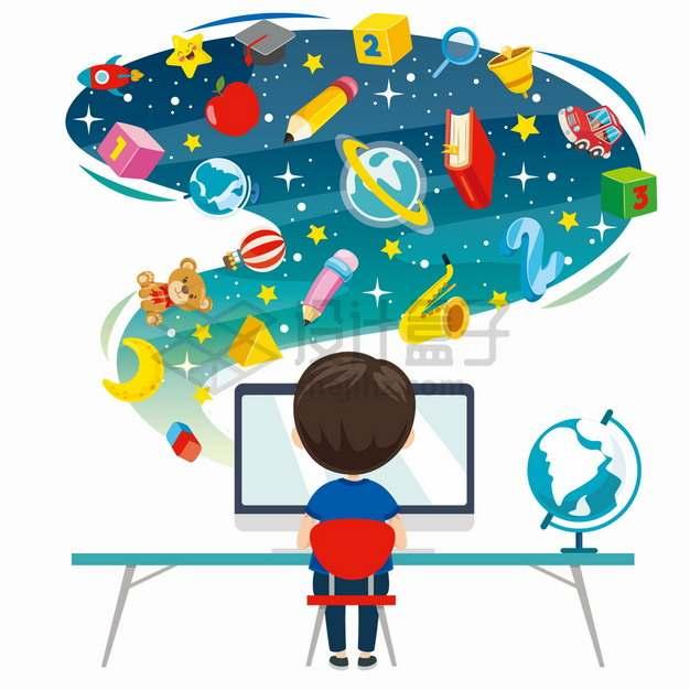 卡通男孩在电脑前上网课学习各种知识png图片素材