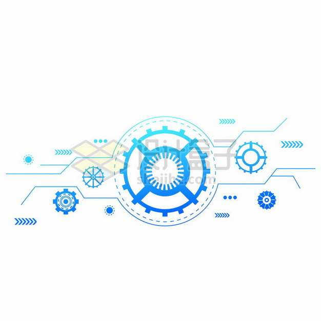 蓝色科技风格齿轮装饰707517png图片素材