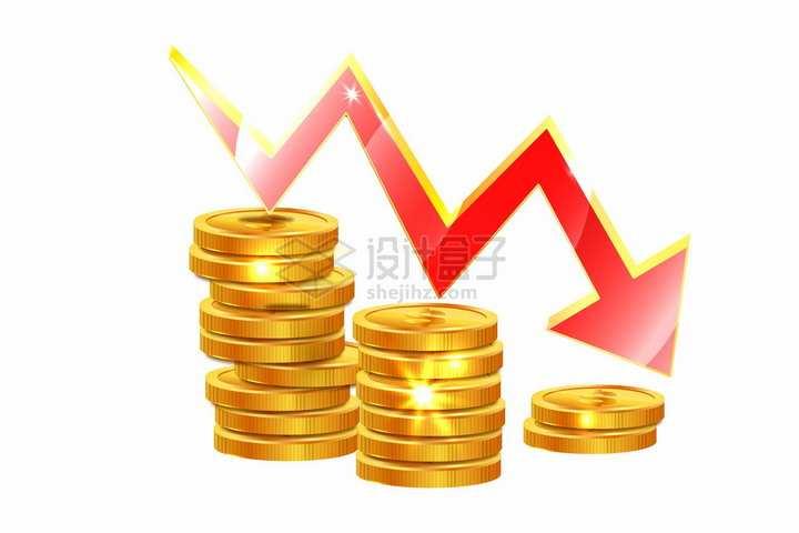 金光闪闪的金币和不断下降的红色箭头经济危机金融危机png图片免抠矢量素材