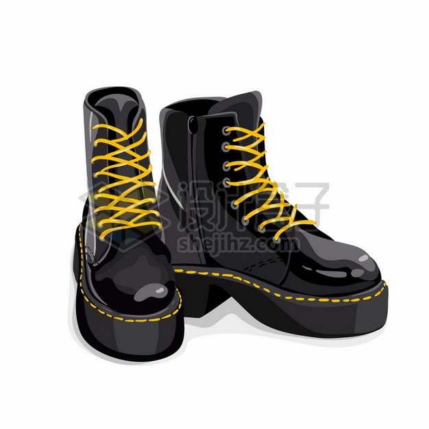 一双黑色的马丁靴户外步行作战靴高帮靴子708853png矢量图片素材