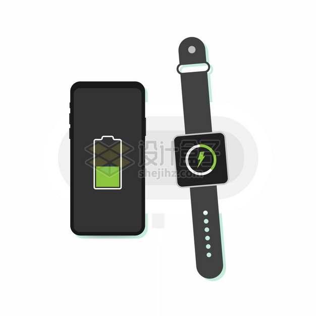 手机和智能手表无线充电器使用示意图175797png图片素材